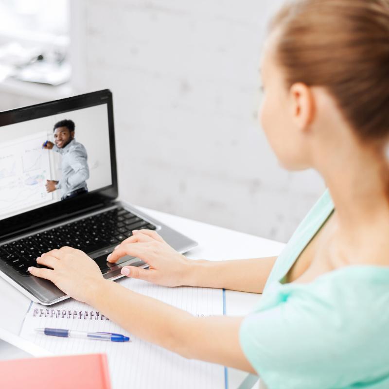 Woman watching webinar