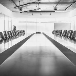 Empty boardroom table